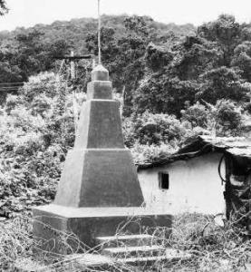 A martyrs' memorial constructed by naxals in memory of those killed in police encounters, at R.V. Nagar.