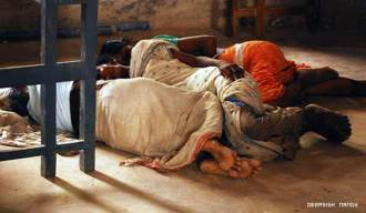 Lalgarh Villagers sleeping in a school