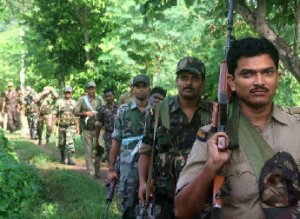 Security personnel moving for a joint operation against Maoists in Purulia, West Bengal, on Saturday.