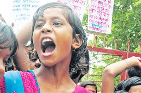 Binpur students protest agianst police camps