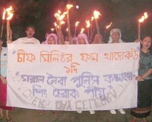 Manipur women folk staging rally