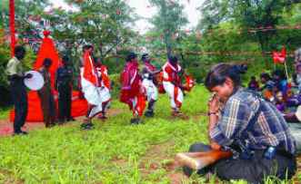 Maoists at a memorial for those killed in police encounters in the Nallamalla forest, south of Hyderabad.