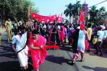 Tribal demonstration in Bhubaneswar. The neglect that the tribal people of the State have faced over the years makes them vulnerable to naxalite influence