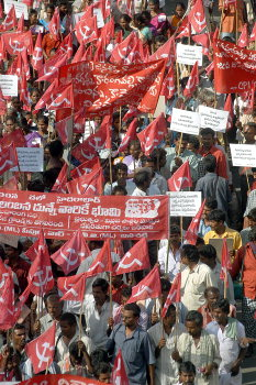 The Maoist supporters came from several districts of Andhra Pradesh are at the Naxalite rally in Hyderabad. The historic rally after 14 years is conducted by the extreemist outfit.   SEPT-30/2004