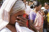 Subharani Baskey in tears outside Midnapore Central Jail. She said she had gone out to see what was happening when police picked her up. (Samir Mondal)