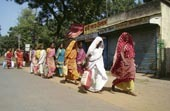 The Lalgarh women released from jail walk to a bus stop in Midnapore town. Picture by Samir Mondal
