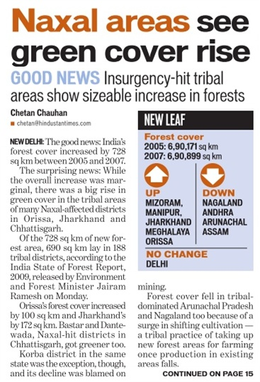 naxal areas see green cover rise