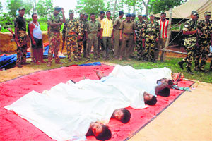 Bodies of Maoists killed in the Goaltore encounter.
