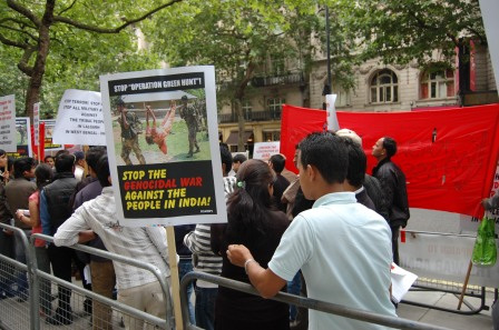 protest against operation Green Hunt at Indian Embassy