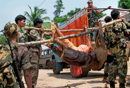 Dead bodies of adivasis killed by state police, West Bengal