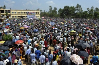 Thousands of Indian activists of People' thousands-of-indian-activists of Peoples Ccommittee Against Police Atrocities PCPA party gather in-lalgarh on august-9-2010